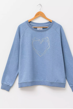 Sweater - Denim Gold Heart Sweater