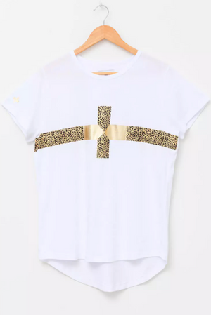 T-ShirtWhite - Cheetah/Gold Cross