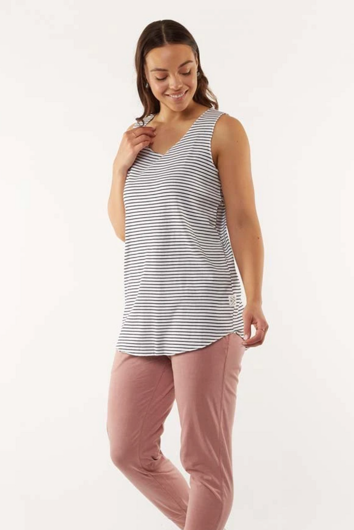 Lottie Layer Tank - White/Navy stripe