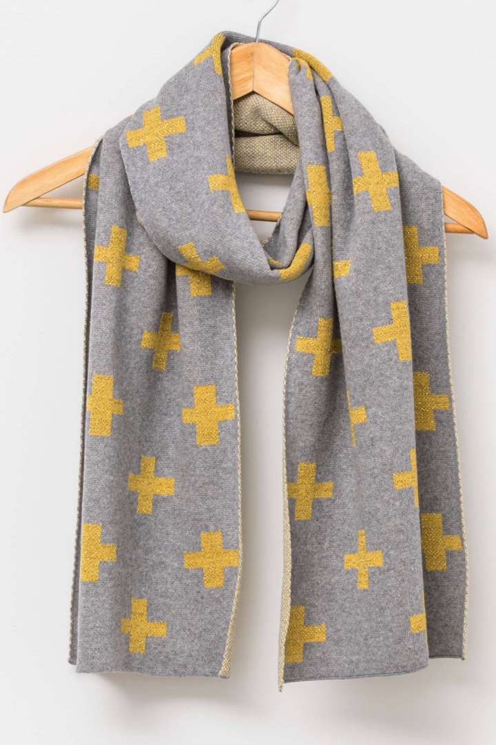 Scarf - Grey with Gold Crosses - Mookah