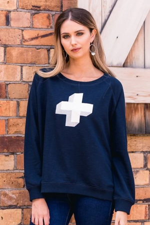 Disco Cross Sweater - Navy - Mookah