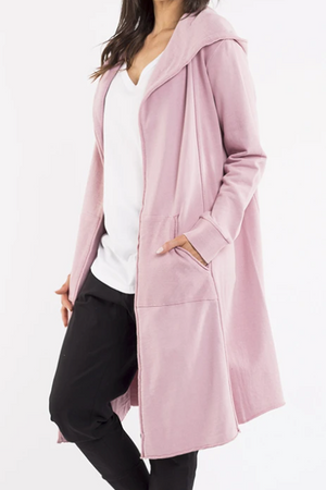 Naomi Hooded Cardigan - Pink - Shop Online At Mookah - mookah.com.au