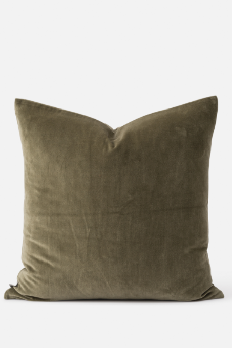 Cotton Velvet Cushion - Sage - Shop Online At Mookah - mookah.com.au