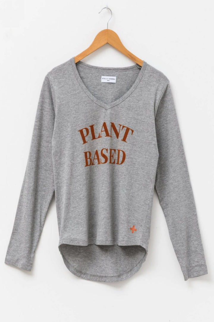 L/S T-Shirt Plant Based - Grey - Shop Online At Mookah - mookah.com.au