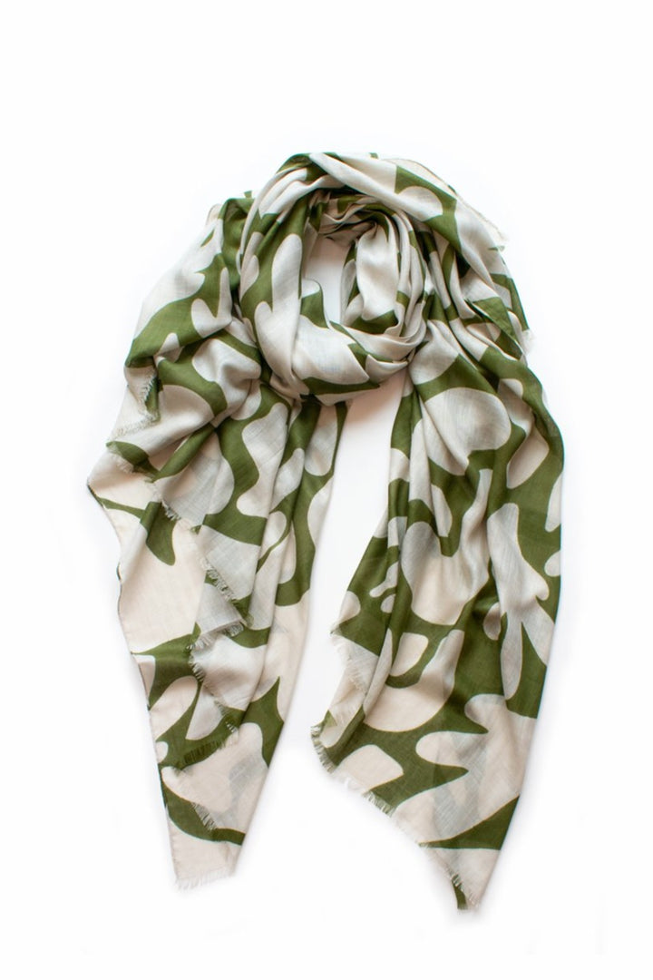 Seascape Scarf - olive/wheat - Shop Online At Mookah - mookah.com.au