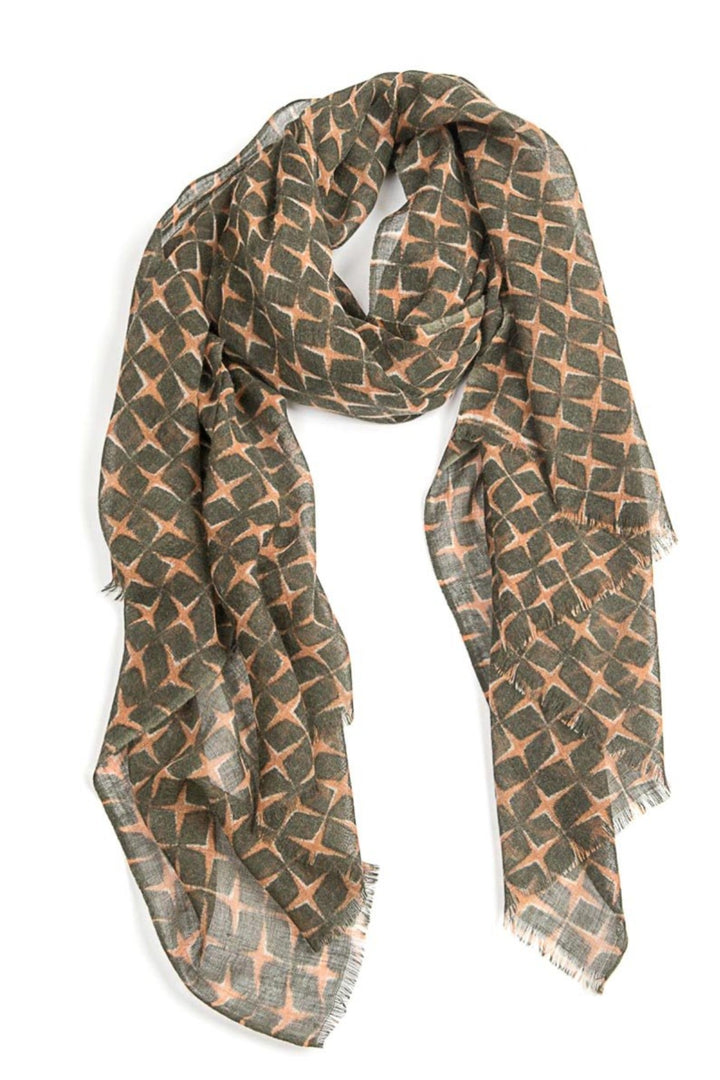 Star Wool Scarf - olive - Shop Online At Mookah - mookah.com.au