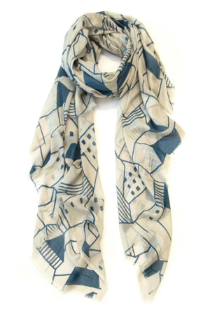 Township Scarf - Blue/Nat - Shop Online At Mookah - mookah.com.au