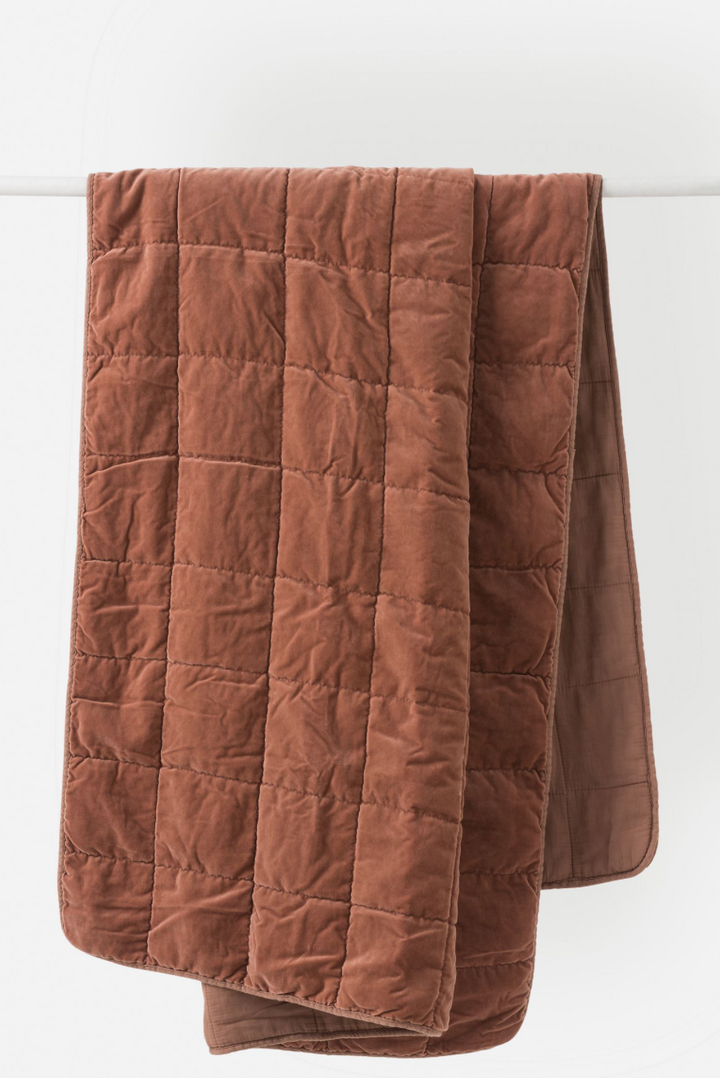 Washed Velvet Quilted Throw- Jam