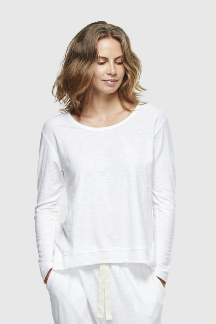Slub L/S Top - White - Mookah