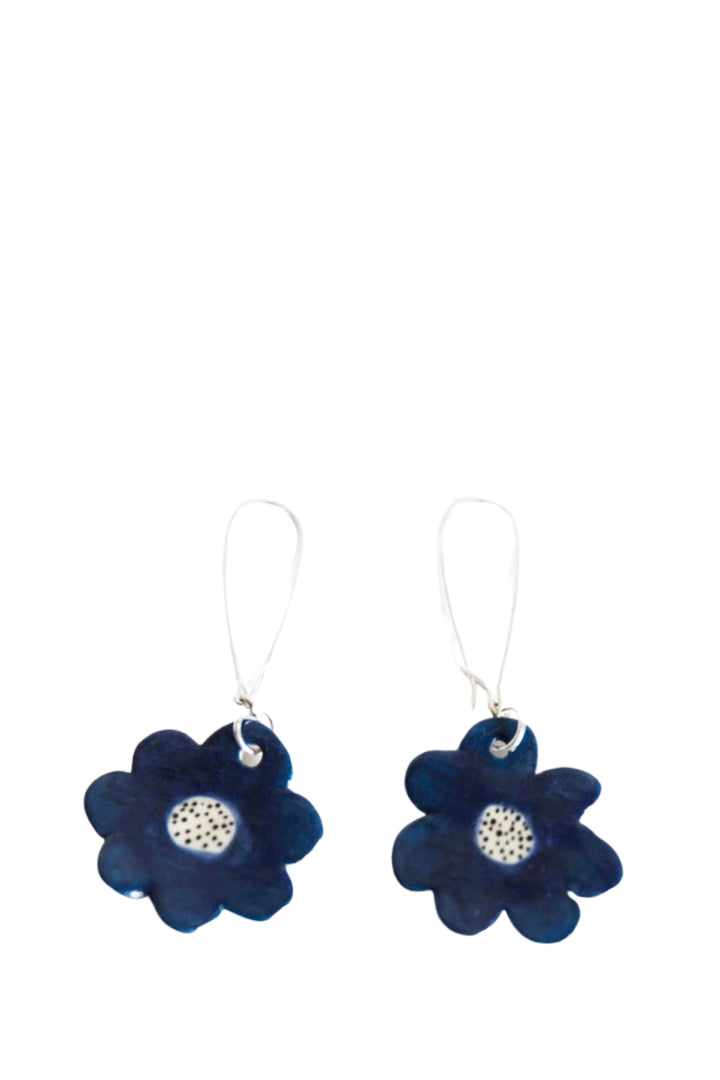 Drop Earrings - Blue Flower - Shop Online At Mookah - mookah.com.au