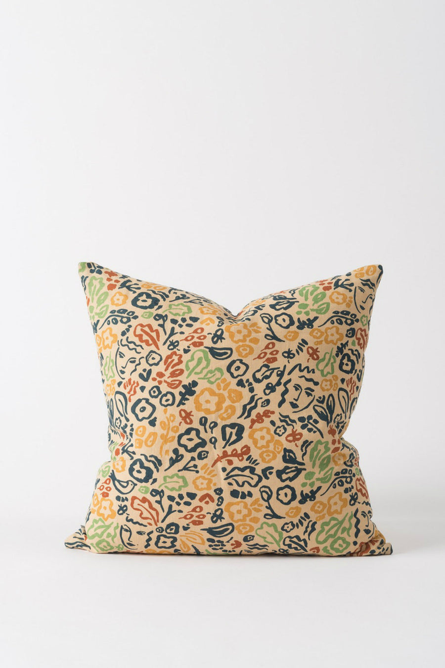 Celia Linen Cushion - Flax/Multi - Shop Online At Mookah - mookah.com.au