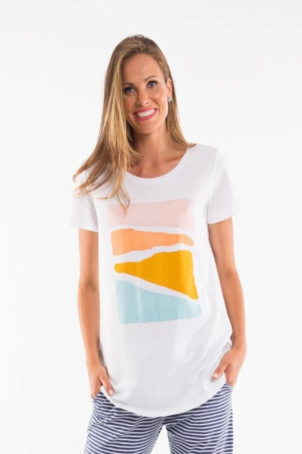 Abstract Sunset Tee - White with Print - Mookah