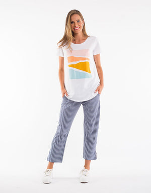 Abstract Sunset Tee - White with Print - Shop Online At Mookah - mookah.com.au