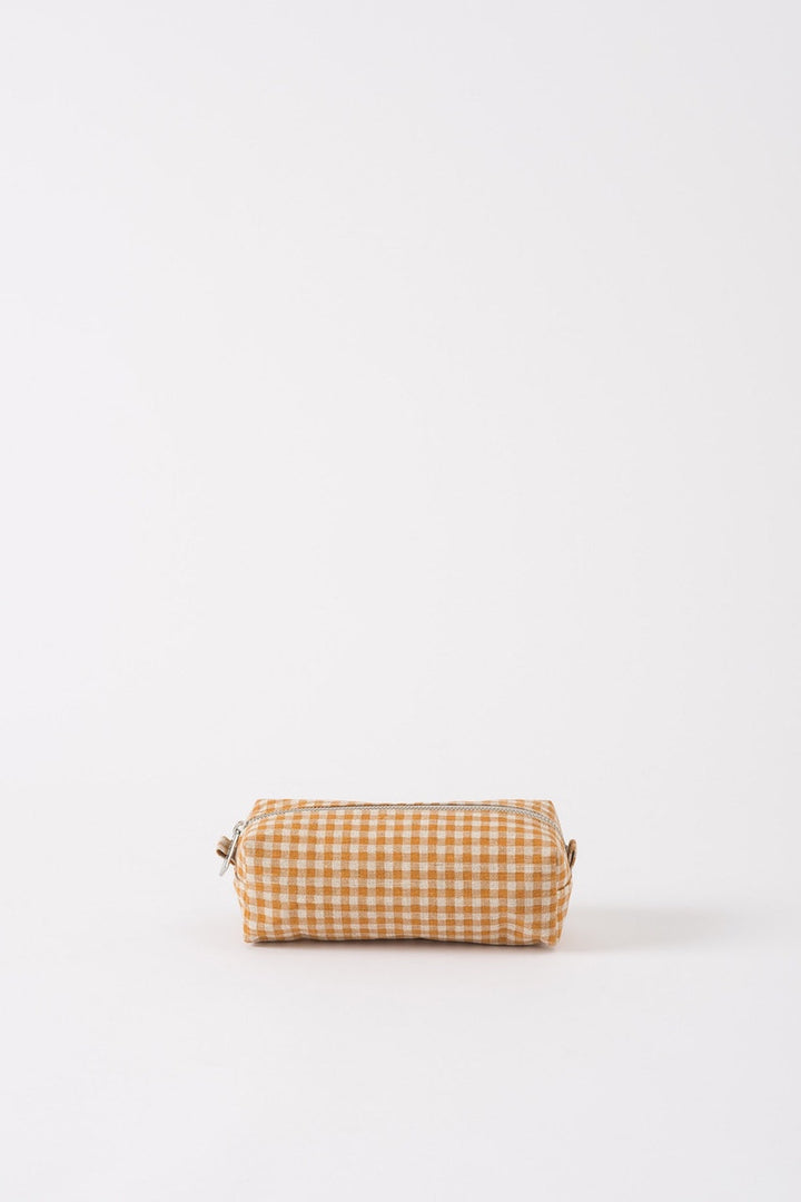 Gingham Wash Bag - Pumpkin/Dijon - Shop Online At Mookah - mookah.com.au