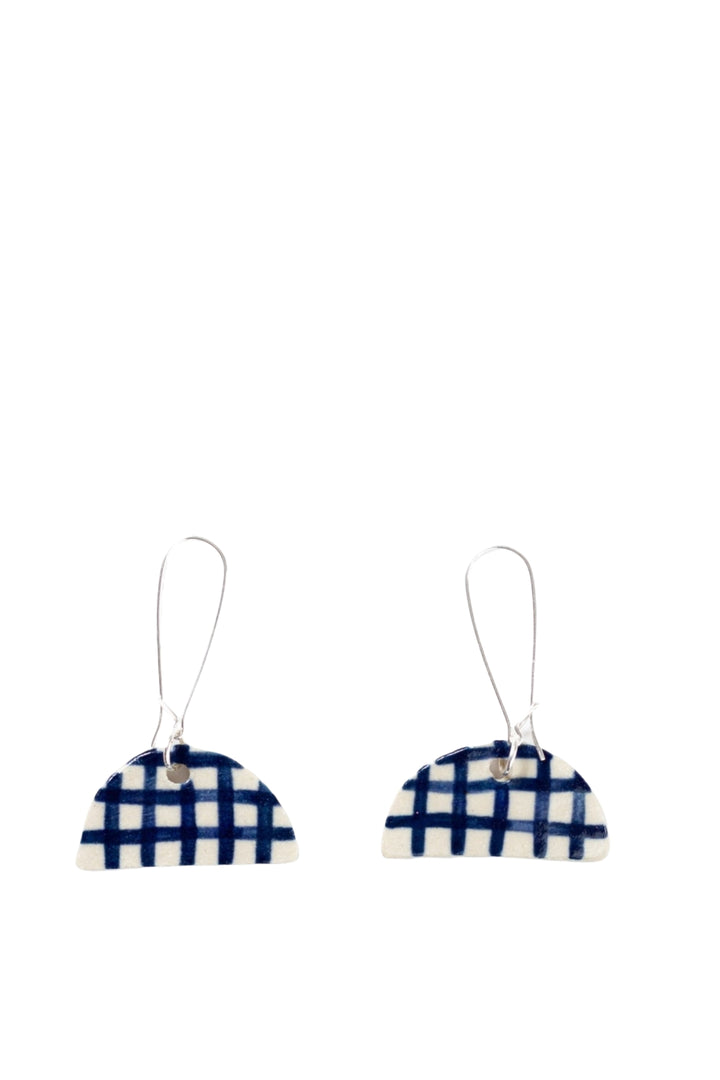Drop Earrings - Gingham Half Moon - Shop Online At Mookah - mookah.com.au