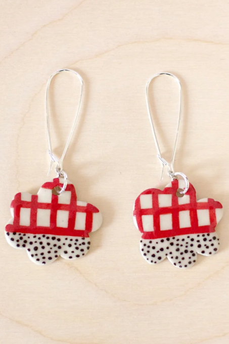 Drop Earrings - Halfy Red Cloud