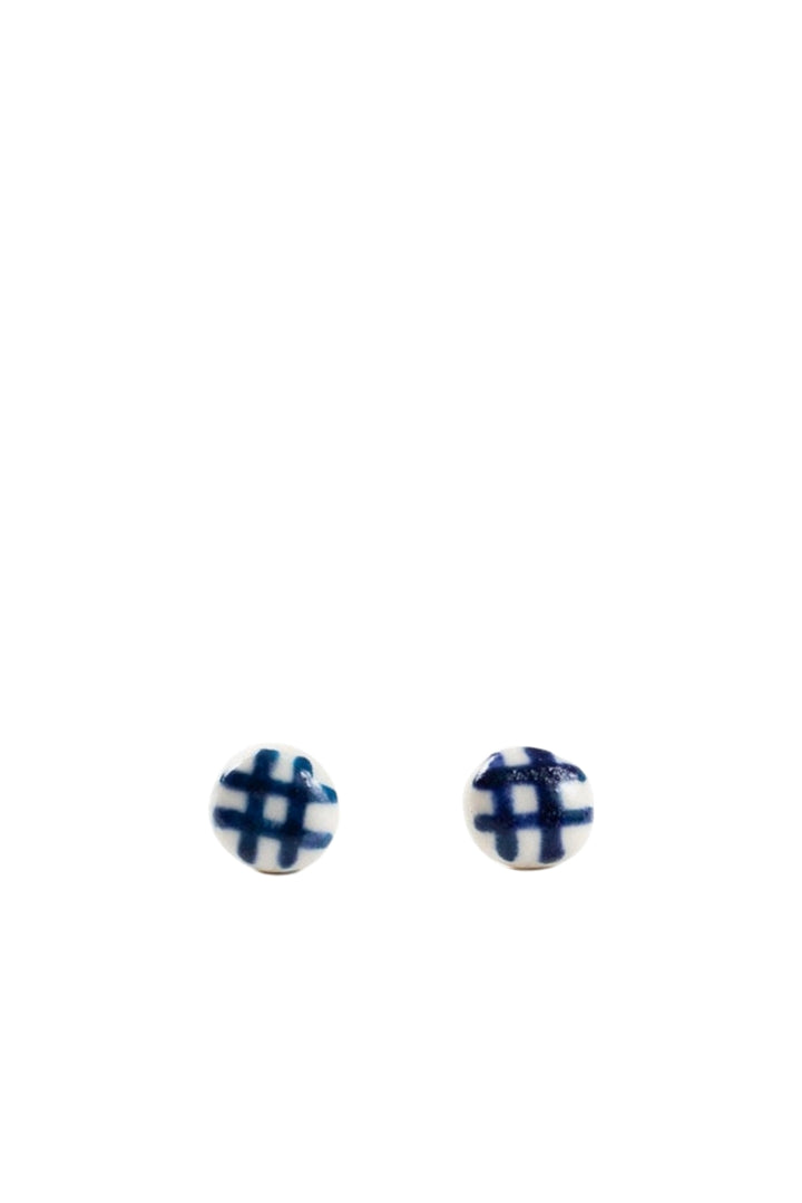 Stud Earrings - Indigo Gingham - Shop Online At Mookah - mookah.com.au