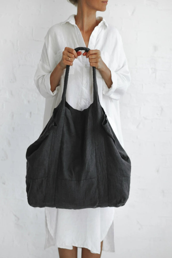 Linen Bag - Dark Grey - Shop Online At Mookah - mookah.com.au