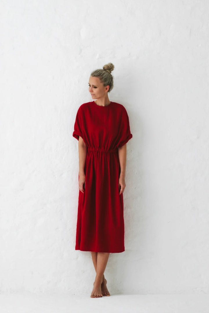 Linen Dress - Red - Shop Online At Mookah - mookah.com.au