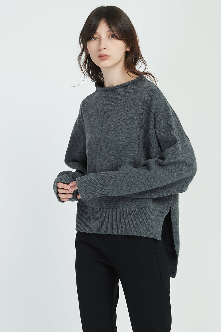 Relaxed High Neck Knit - Charcoal - Shop Online At Mookah - mookah.com.au