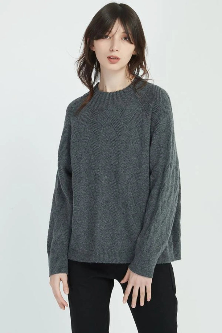 Raglan Textured Knit - Charcoal - Shop Online At Mookah - mookah.com.au
