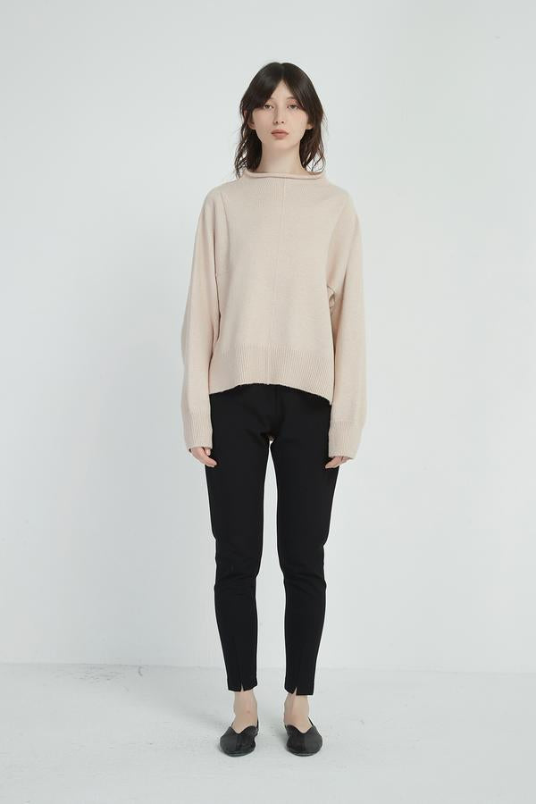 Relaxed High Neck Knit - Champagne Pink - Shop Online At Mookah - mookah.com.au