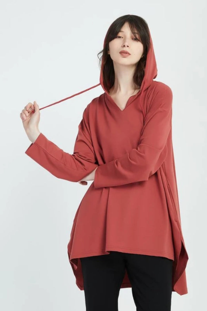 V Neck Hood Top - Brick - Shop Online At Mookah - mookah.com.au