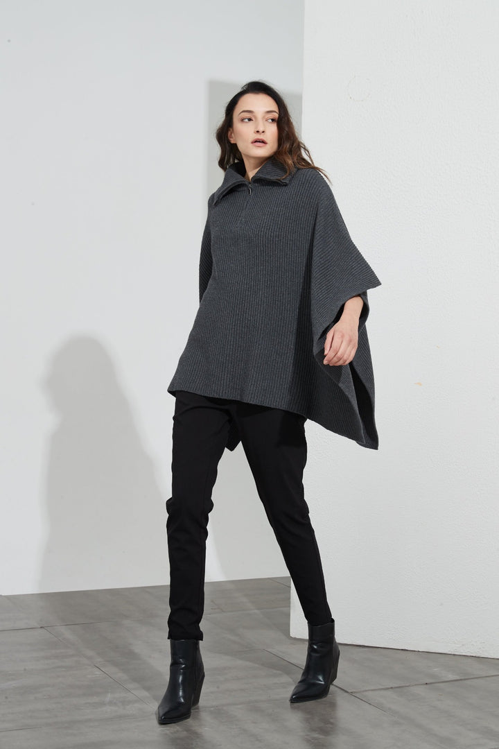 Zip Collar Poncho - Charcoal - Shop Online At Mookah - mookah.com.au