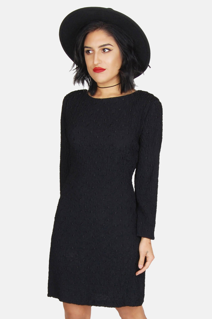 One More Chance Vintage - Vintage Endless Night Textured Mini Dress