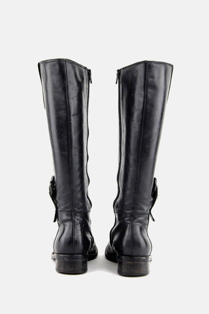 One More Chance Vintage - Vintage Midnight Rider Buckled Knee High Leather Boots