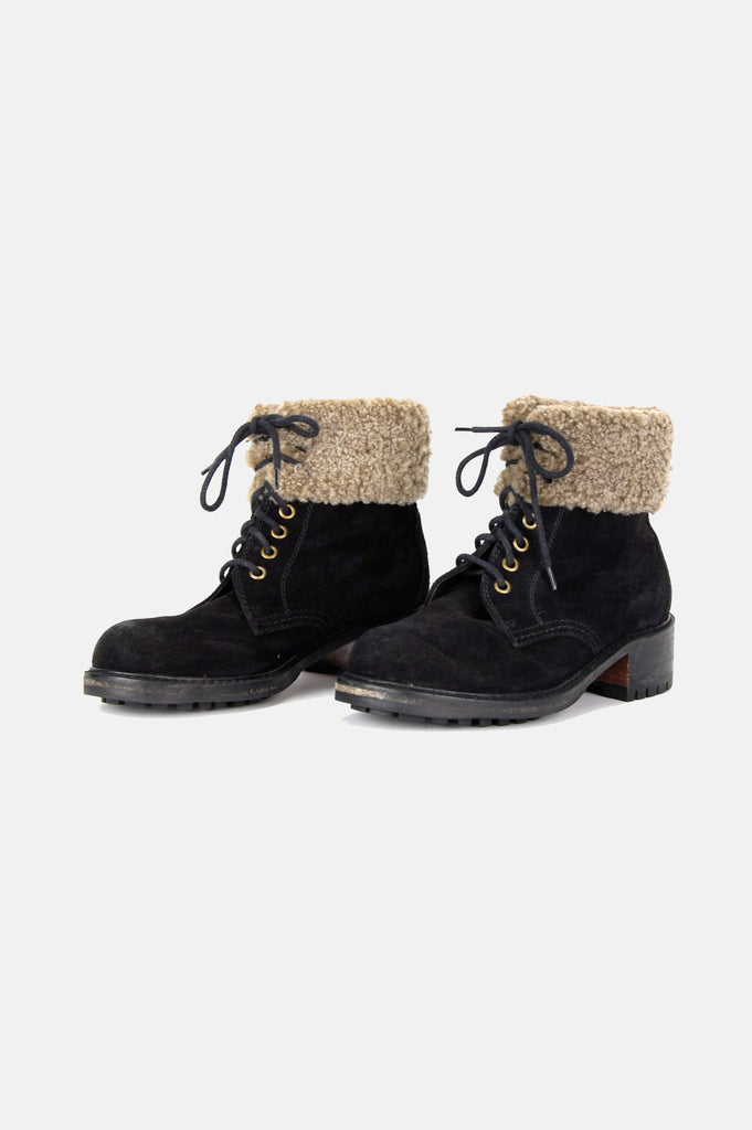 One More Chance Boutique - Vintage Country Girl Shearling Cuffed Hiker Ankle Boots
