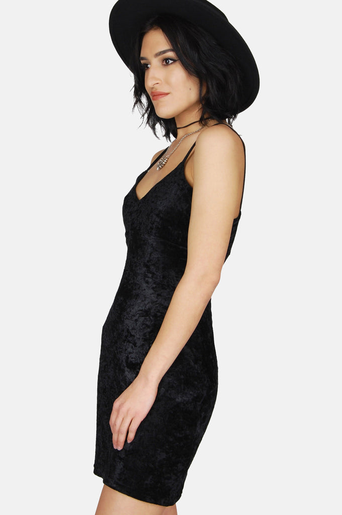 One More Chance Boutique - Vintage Night Walks Crushed Velvet Mini Dress