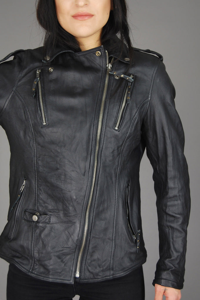 Derringer Genuine Leather Motorcycle Jacket - One More Chance Vintage
