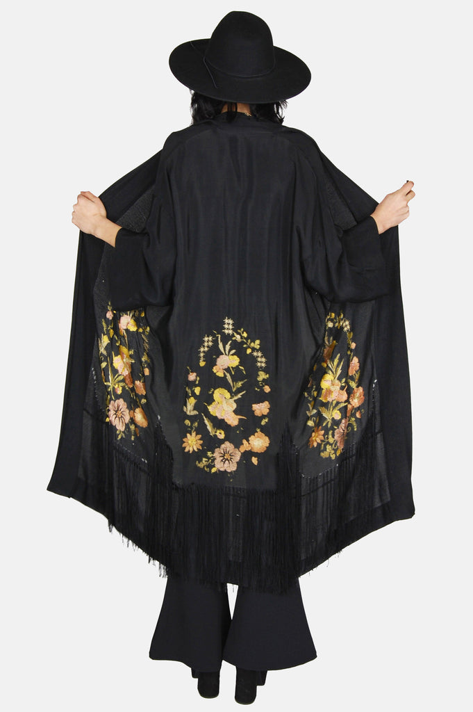 One More Chance Boutique - Vintage Silk Floral & Fringe Embroidered Kimono