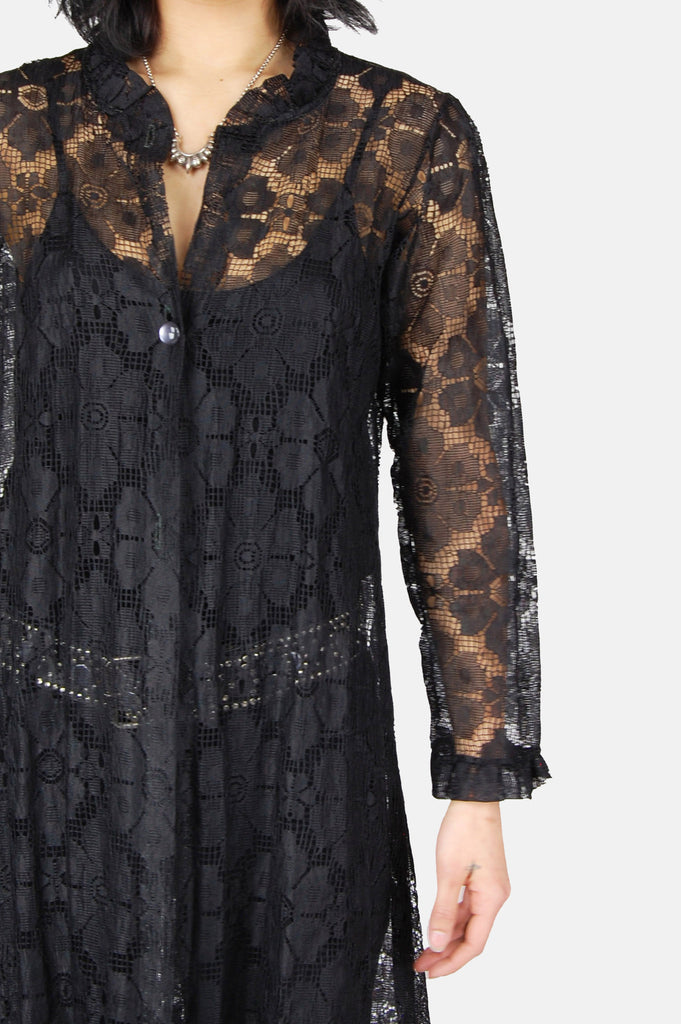 One More Chance Vintage - Vintage Lady In Black Floral Lace Duster Jacket