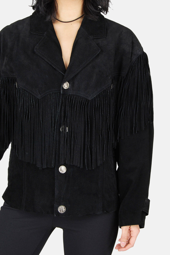 One More Chance Boutique - Vintage Livin' For Today Concho Fringe Leather Jacket
