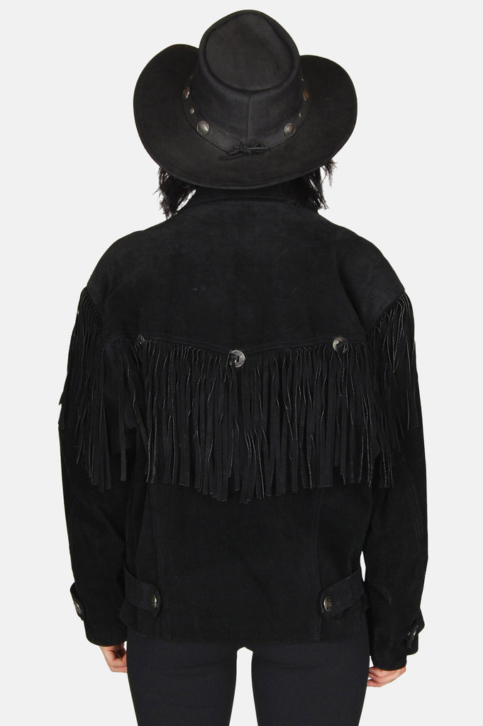 One More Chance Vintage - Vintage Livin' For Today Concho Fringe Leather Jacket