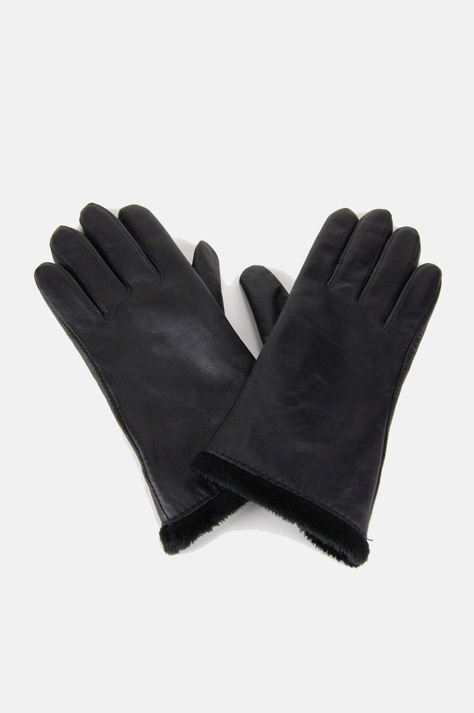 One More Chance Boutique - Vintage City Walker Faux Fur Lined Leather Gloves
