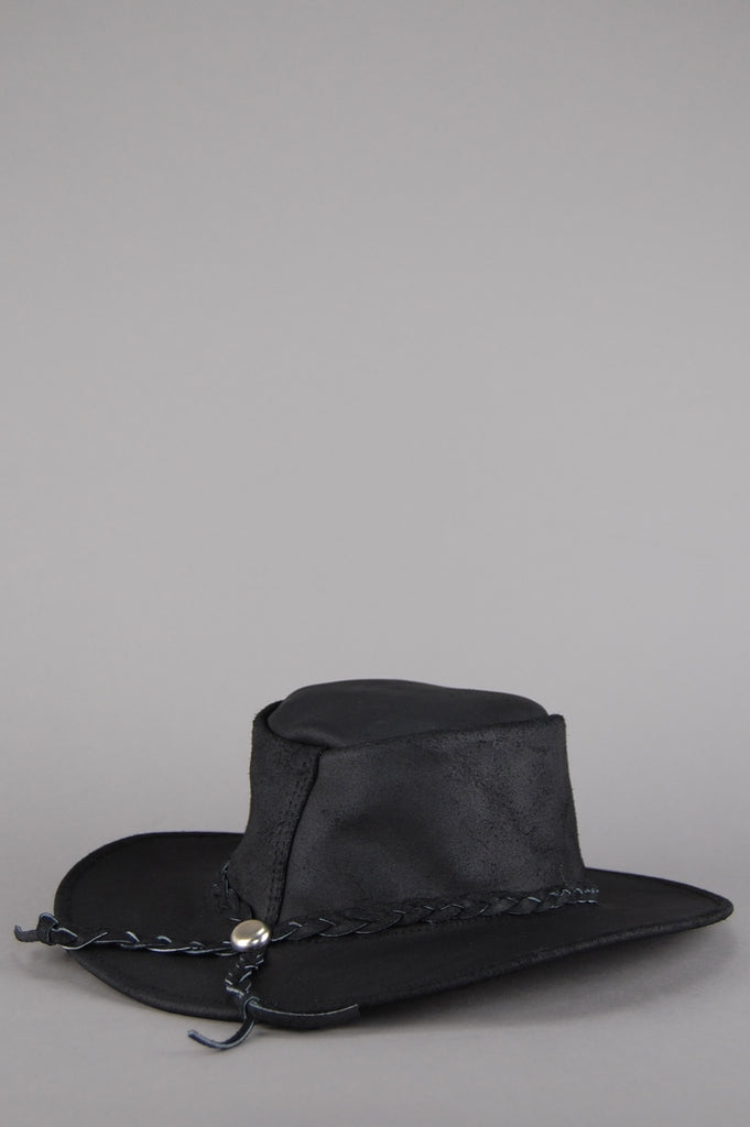 One More Chance Vintage - Vintage Easy Rider Leather Rancher Hat - Black