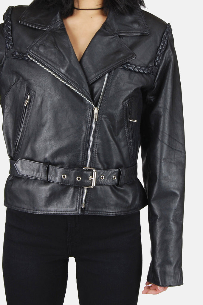 One More Chance Boutique - Vintage Ride Out Braided Leather Moto Jacket