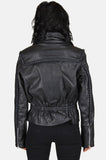 One More Chance Vintage - Vintage Ride Out Braided Leather Moto Jacket