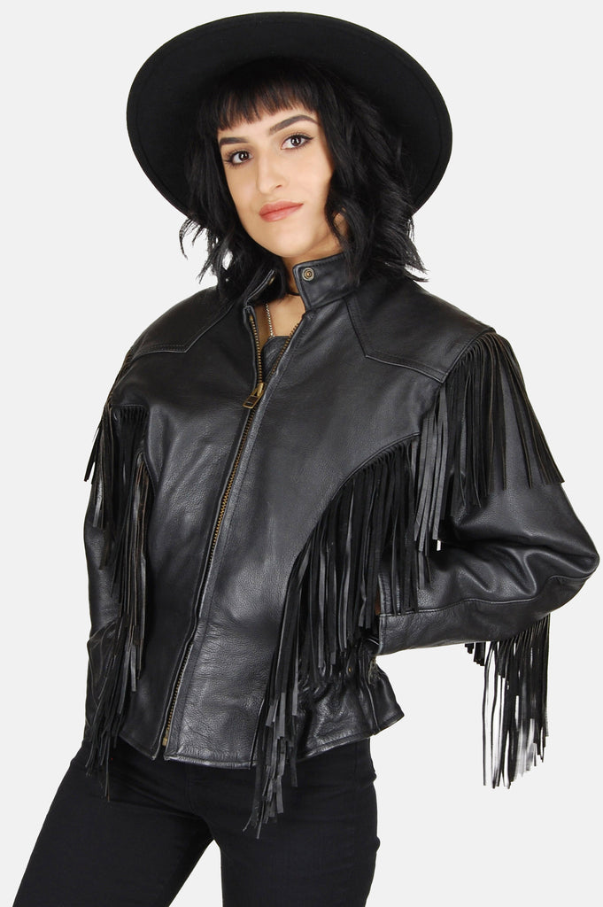 One More Chance Boutique - Vintage Harley Patched Fringe Leather Jacket