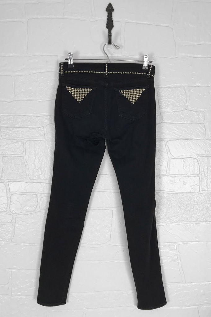 Restless Sinner J Brand Distressed Studded Skinny Jeans