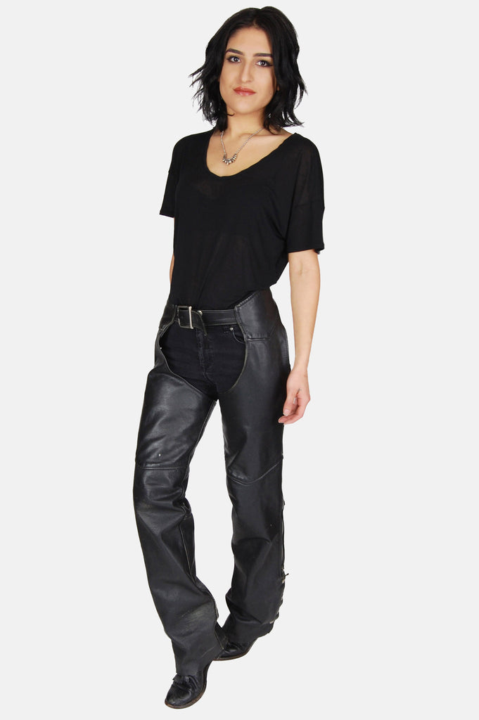 One More Chance Boutique - Vintage Leather Mama Distressed Chaps