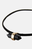 Thin Leather Crystal Choker - Black - One More Chance - 2