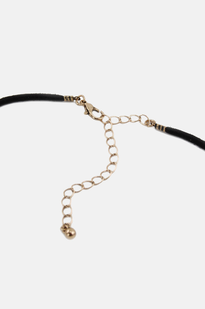 One More Chance Vintage - Vintage Thin Leather Crystal Choker - Black