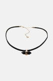 Thin Leather Crystal Choker - Black - One More Chance - 1