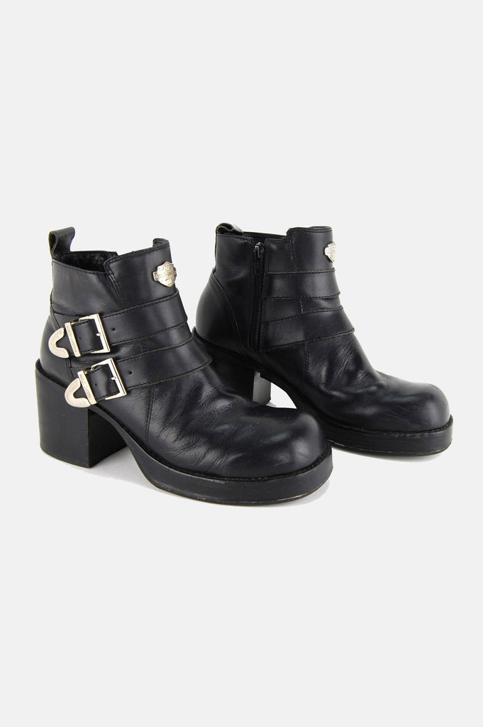 Harley Davidson Buckled Leather Platform Boots - One More Chance - 2