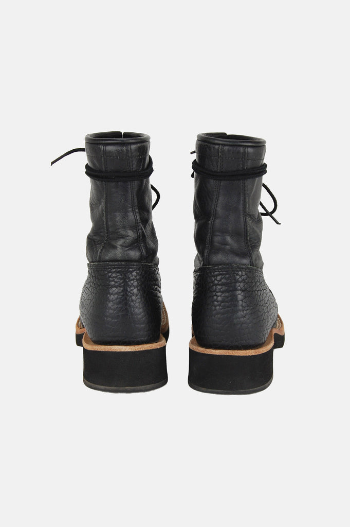 One More Chance Vintage - Vintage Midnight Rambler Justin Lace Up Leather Boots