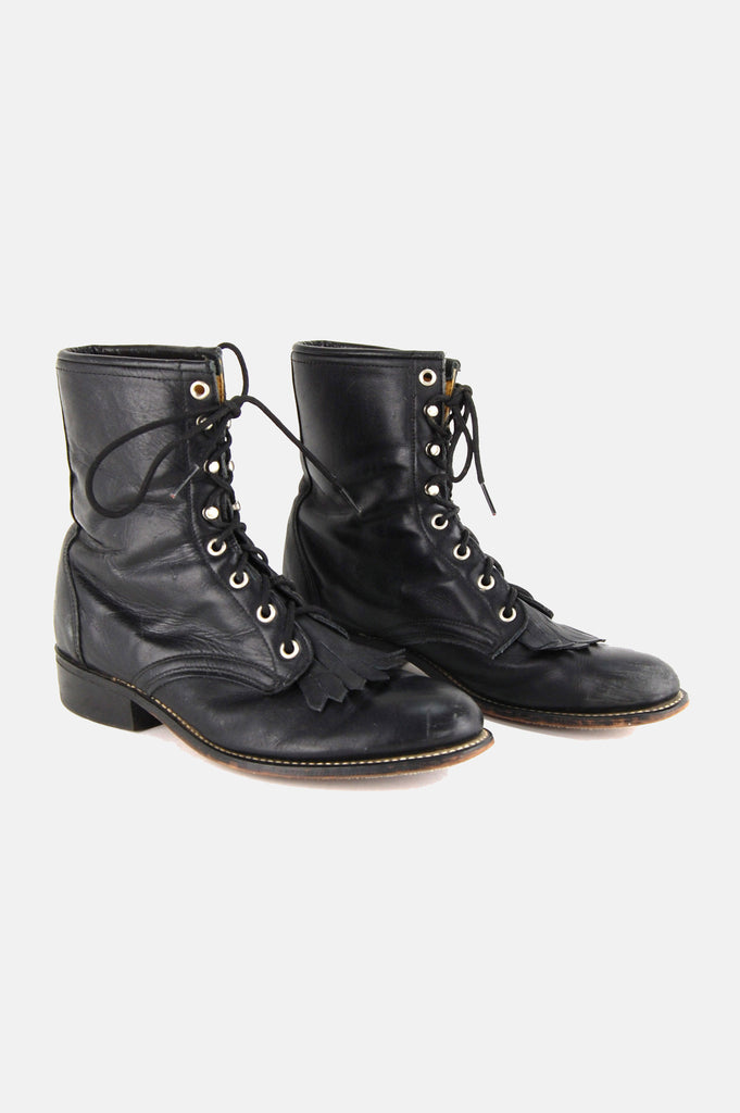 Laredo Leather Lace Up Justin Boots - One More Chance - 2